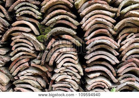 Heap Of Old Greek Roof Tiles