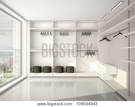 3D Illustration Of Comfortable Modern Blank Wardrobe