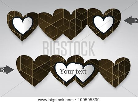 Template greeting card in the form of heart.