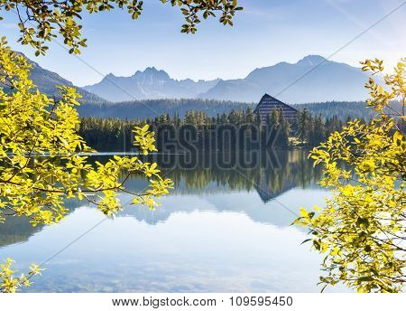 Fantastic mountain lake in National Park High Tatra. Dramatic scenery. Strbske pleso, Slovakia, Europe. Beauty world.