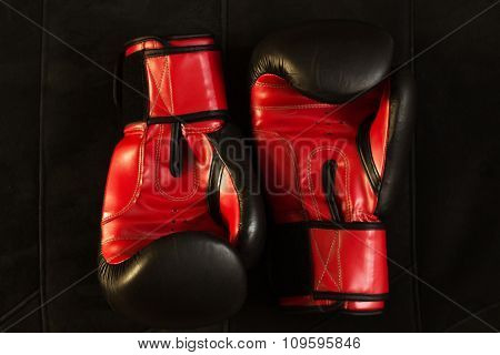 Boxing gloves isolated on the black background