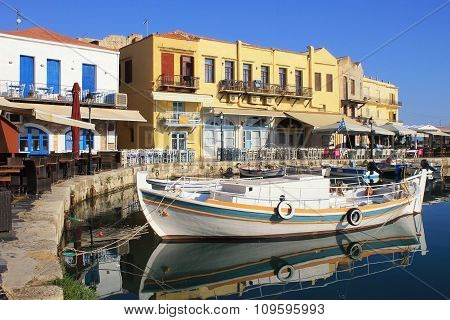 The Venetian Harbour At Rethymno, Crete, Greece.