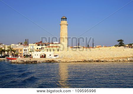 Old Venetian Lighthouse At Harbor, Rethymno, Crete, Greece