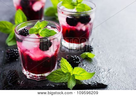 Refreshing Cocktail With Blueberry, Ice And Mint,