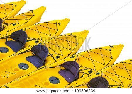 Yellow Kayaks On A White Background..