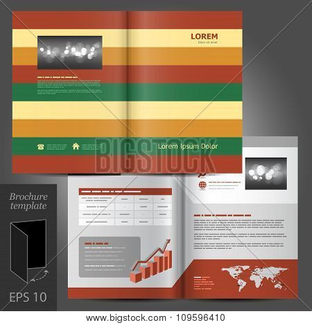Brochure Template Design With Horizontal Lines