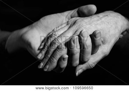 Monochrome Shot Of Young Woman Holding Older Woman's Hand