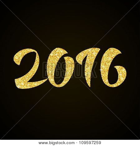 Happy New Year 2016  - gold glitter hand lettering on black background