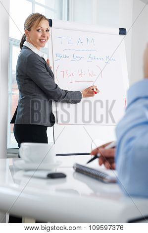 Female Businesswoman Giving Presentation With Flipchart