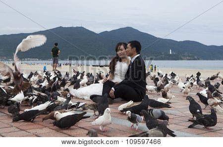 Vietnamese going-to-married couple taking wedding photo