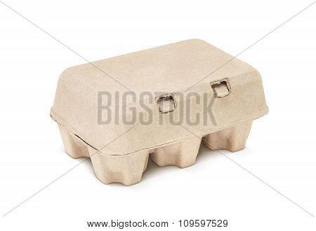 Egg Packaging Paper Mould Box Isolated On White Background