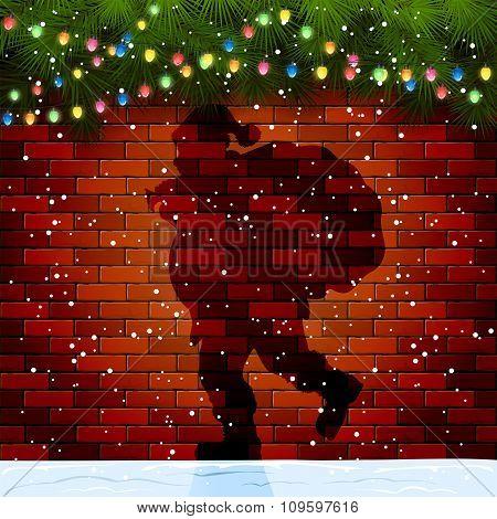 Shadow Of Santa On A Brick Wall