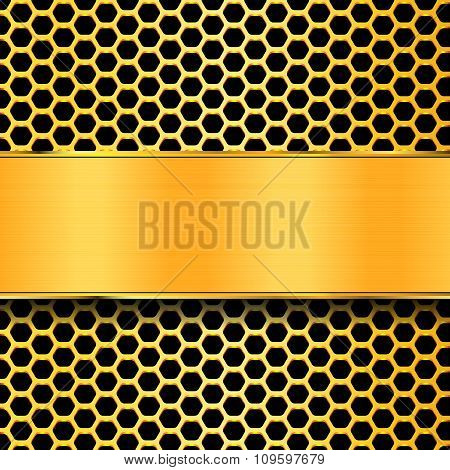 Gold Geometric Pattern Of Hexagons With A Gold Plate. Metal Background.