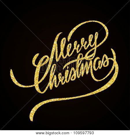Merry Christmas gold glitter hand lettering on black background