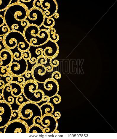 Vector Gold Glitter Curl Invitation Card with Swirl Damask Pattern on Black Background