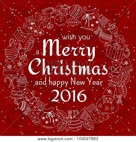Christmas greeting card with text wish you a Merry Christmas and wreath with many winter doodles. Sa