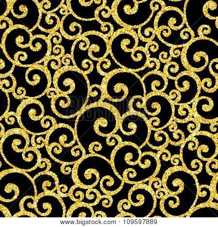 Vector swirl seamless pattern with gold glitter on black background