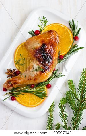 Roasted Chicken Leg With Oranges And Rosemary For Christmas Dinner
