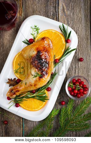 Roasted Chicken With Cranberry Sauce For Christmas Dinner