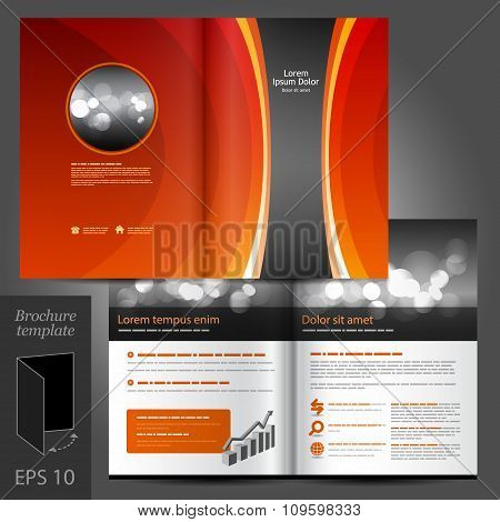 Red Brochure Template Design With Black Elements
