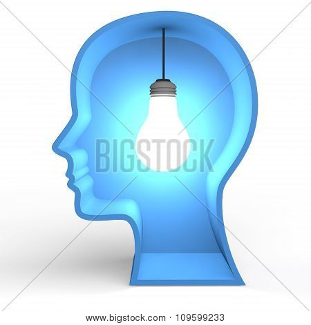 3d head shape with glowing bulb