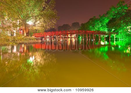 Night Shot Of Red Bridge In Hoan Kiem Lake, Ha Noi, Vietnam.