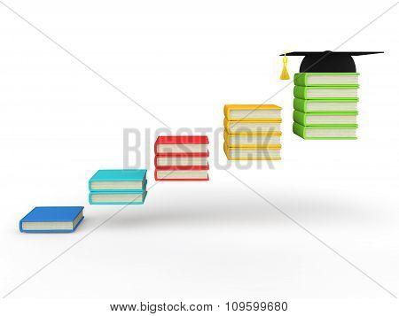 3d books steps with graduation hat