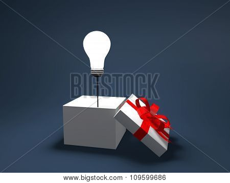 3d light bulb out of gift box