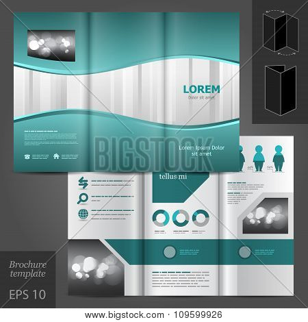 Brochure Template Design With Waves And Stripes
