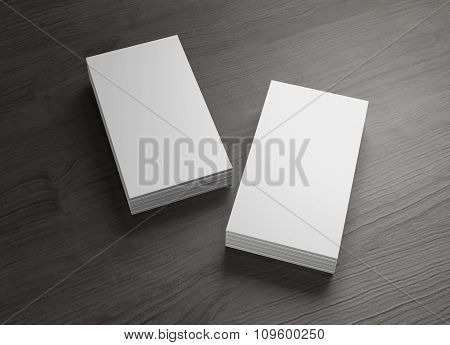 2 Stack Of Vertical Business Cards Of Wood Table