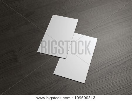 Front And Back Business Card On Wood Table