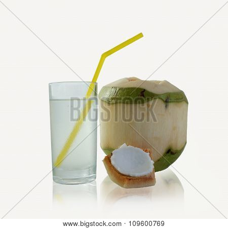 Drinking Coconut Water In A Glass