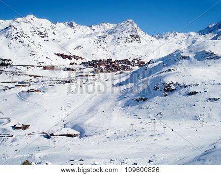 Resort In Mountains Under Snow