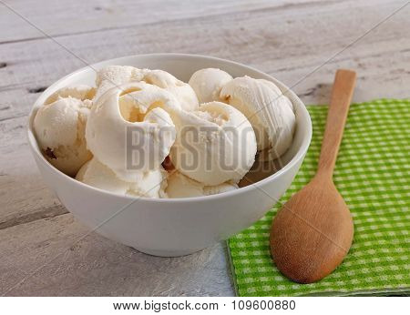 White Ice Cream In The Bowl