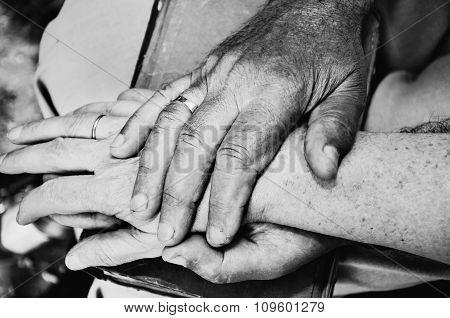 Monochrome Image Of Elderly Mans Hand Holds Elderly Womans Hand. Horizontal