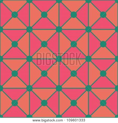 Vector modern seamless colorful geometry triangles dots pattern color pink green abstract