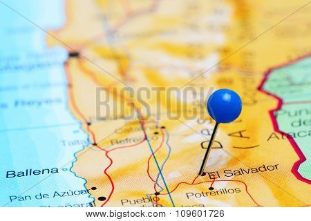 El Salvador pinned on a map of Chile