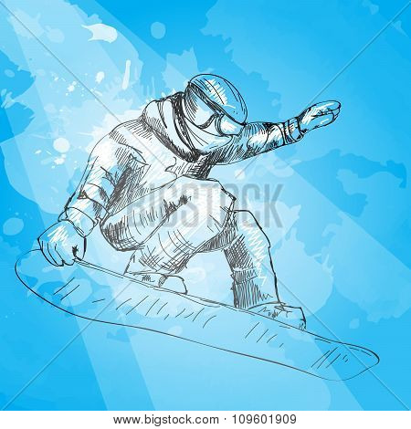 Snowboarding. Hand drawn illustration