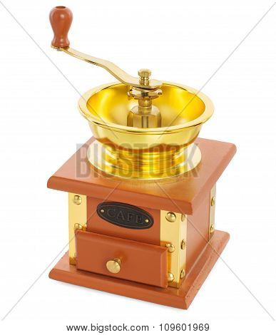 Wooden Coffee Grinder With Gold-plated Metal Isolated On White Background