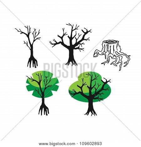 Doodle Flat Silhouette Tree And Nature