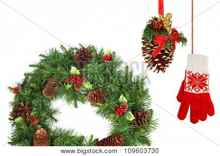 Christmas Fir Wreath, Pine Cone And Mittens