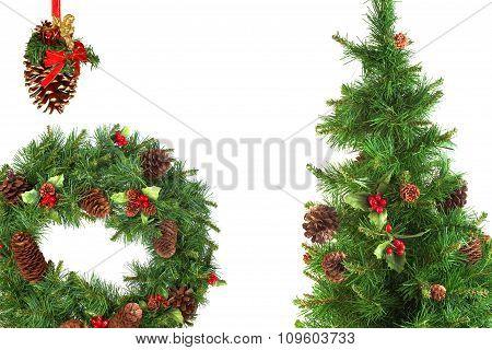 Christmas Fir Wreath, Pine Cones And Christmas Tree