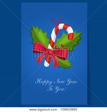 Lollipop Christmas greeting card with text