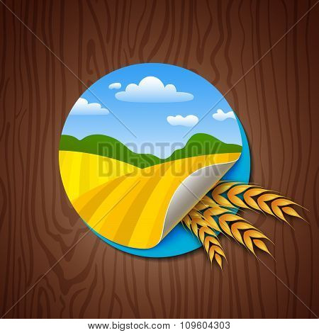 Circle Label with Yellow Fields and Wheat Ears