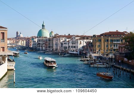 Canal Grande In Venice (venezia) During The Rush Hour