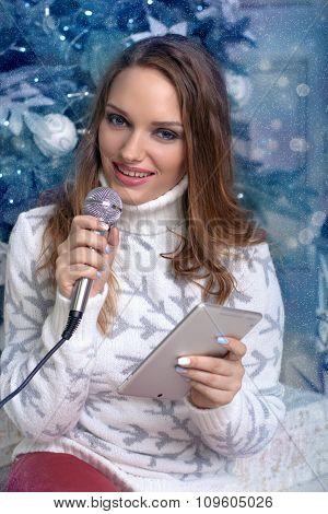 Woman In White Sweater Singing Karaoke