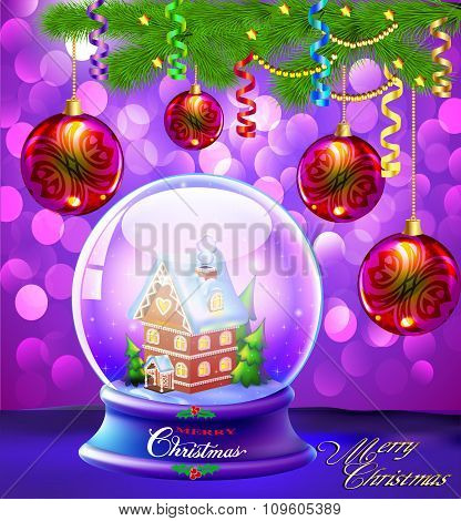 illustration Christmas Snow globe with a house and trees