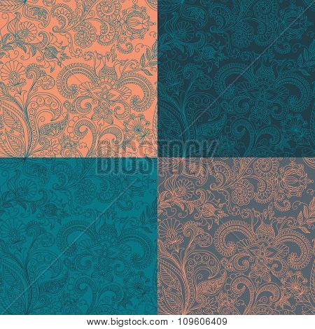 vector set seamless floral pattern