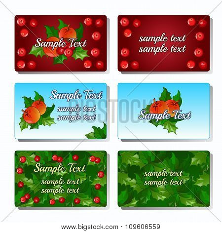 Set of six cards with Holly berry and fruit for your design needs
