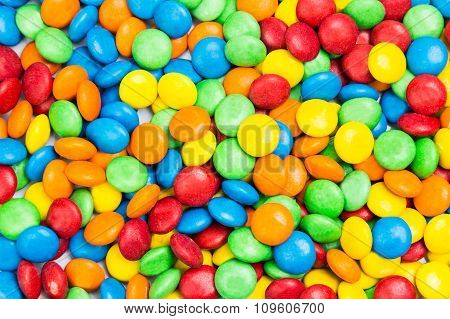 Pile Of Colorful Delicious Milk Chocolate Candies In Crisp Shell